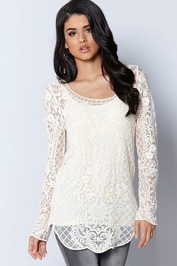 Club L Embroidered Long Sleeve Tunic