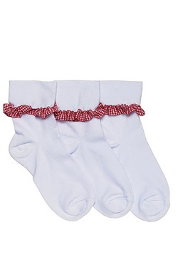 Girls Pack Of 3 Frilly Gingham Sock...