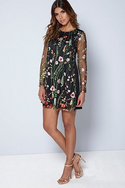 Be You Embroidered Mesh Shift Dress