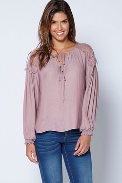 Be You Lace Shoulder Gypsy Top