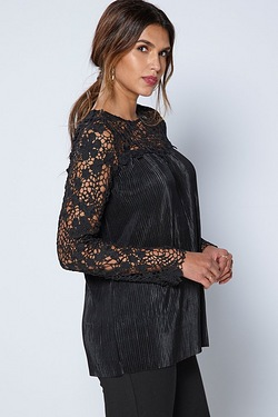 Be You Long Sleeve Lace Pleat Top