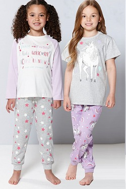 Girl's Pack Of 2 Unicorn Pyjamas