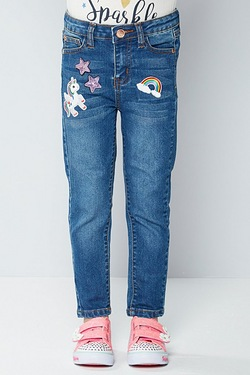 Girls Straight Leg Jeans with Badges