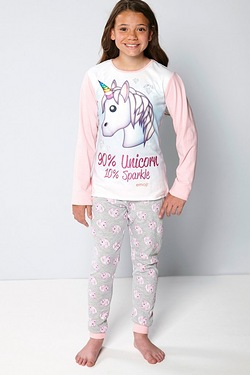 Girls Emoji Unicorn Sparkle Pyjamas
