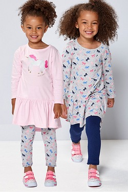 Girl's Pack Of 2 Unicorn Print Dresses