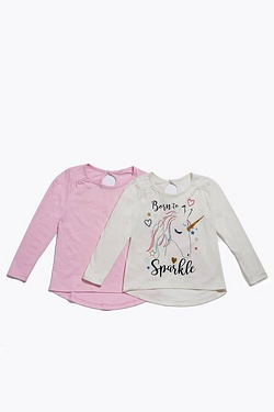 Girl's Pack Of 2 Unicorn Print Tops
