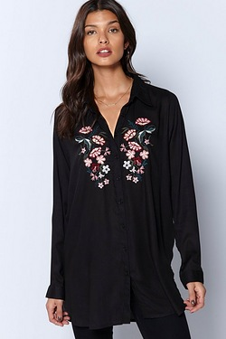 Be You Embroidered Longline Shirt