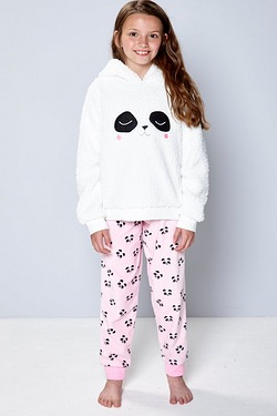 Girls Fleece Panda Twosie