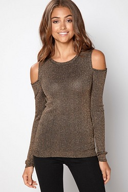 Brave Soul Cold Shoulder Lurex Jumper