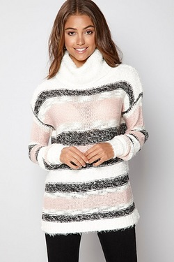 Brave Soul Stripe Polo Neck Jumper