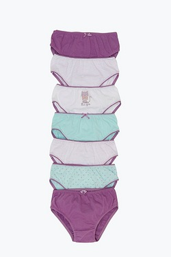 Girls Pack Of 7 Briefs - Cat