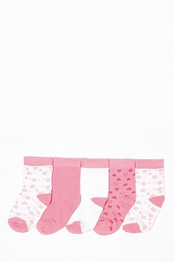 Girl's Pack Of 5 Socks - Star/Heart
