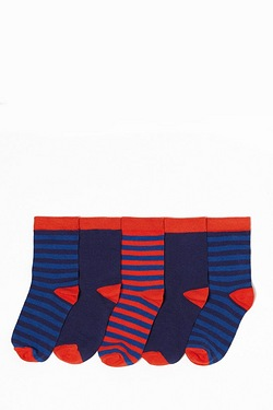 Boy's Pack Of 5 Socks