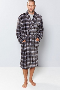 Ben Sherman Check Robe Grey
