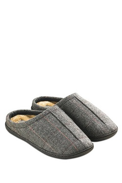 Tweed Fur Lined Mule