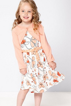 Girls Floral Dress With Bolero