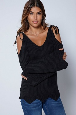 Be You Cold Shoulder Scallop Edge J...