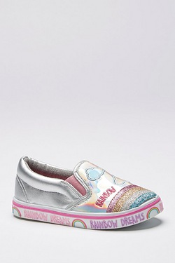 Girls Rainbow Sparkle Slip On Shoe