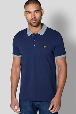 Lyle and Scott Woven Collar Jersey Polo Shirt