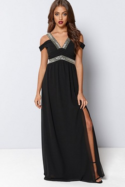 TFNC Cold Shoulder Embellished Maxi...