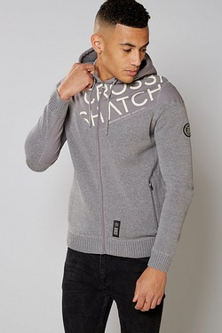 Crosshatch Zip Throught Knit Hoody