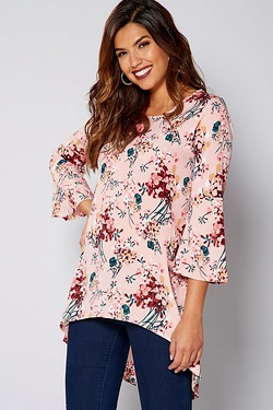 Be You Flute Sleeve Split Back Top