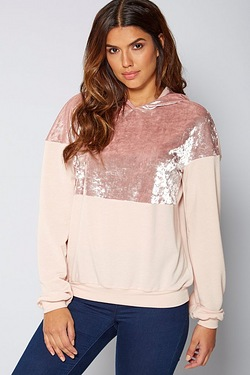 Be You Crushed Velvet Panel Sweater