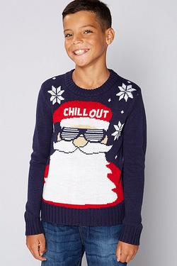 Boys Christmas Jumper - Chill Out Blue