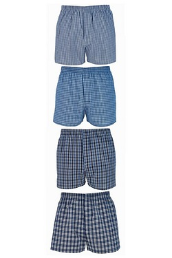 Mens Pack Of 4 Woven Boxers