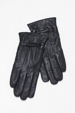 Premium Leather Gloves with Bow Detail