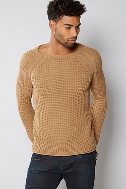 Mens Chunky Basket Knit Crew Neck J...