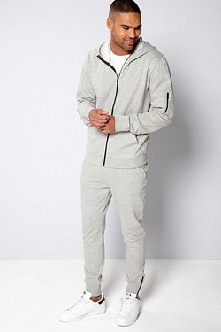 TG Rib Panel Zip Through Hoody
