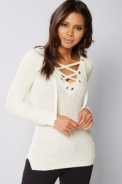 Brave Soul Lace Up Front Jumper