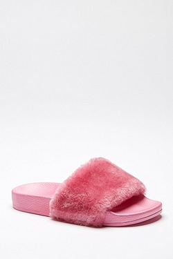Girls Fur Sliders