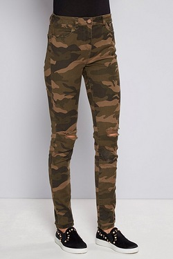 Be You Skinny Rip Knee Camo Jean