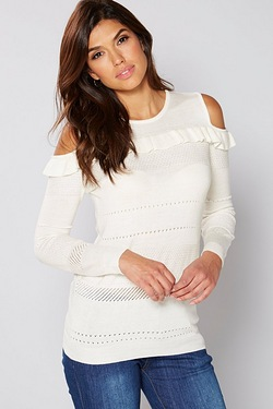 Be You Cold Shoulder Frill Pointelle Jumper