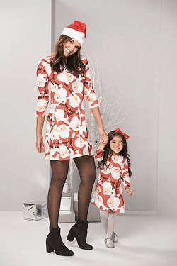 Daughter Christmas Print Swing Dress - Santa