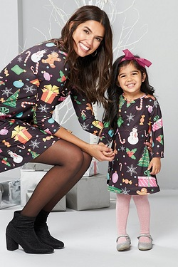 Daughter Christmas Print Swing Dress - Festive