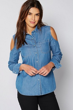 Be You Cold Shoulder Denim Shirt