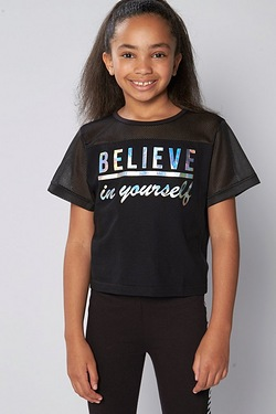 Girls Believe In Yourself Mesh Top