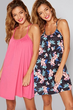 Pack Of 2 Tropicana Twisted Strap Beach Dresses - Pink/Floral