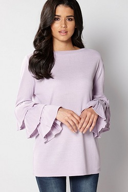Club L Flute Sleeve Detailed Jumper
