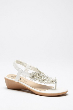 Be You Toe Post Bling Wedge Sandal