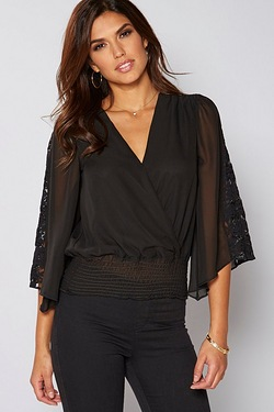 Be You Batwing Wrap Lace Insert Top