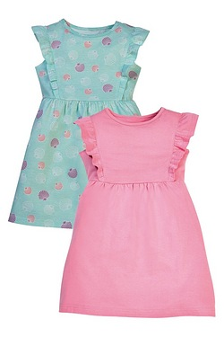 Girls Pack Of 2 Shell Print Dresses