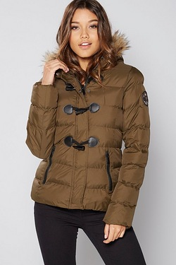 Brave Soul Padded Jacket With Fur Trim Hood