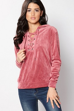 Brave Soul Velour Tie Up Front Sweatshirt