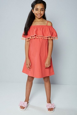 Older Girls Cold Shoulder Pom Pom Dress