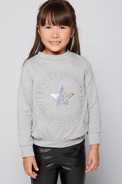 Girls Embossed Sweat Top Grey Marl