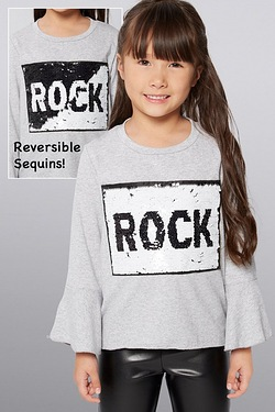 Girls Reversible Sequin Rock Top